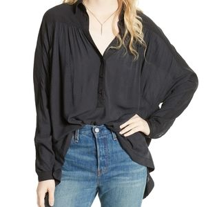 Free People Black Lovely Day Button Down M